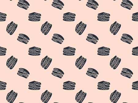 Seamless pattern of black hand-drawn macaroons on a pastel pink background. French pastry. Vector.