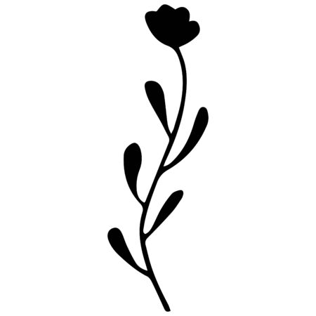 Black hand-drawn abstract tulip on a white background. Vector. Standard-Bild - 133468370