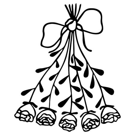 Black-white bouquet of roses drawn by hand and tied with a ribbon with a bow. Isolated item for coloring. Vector.