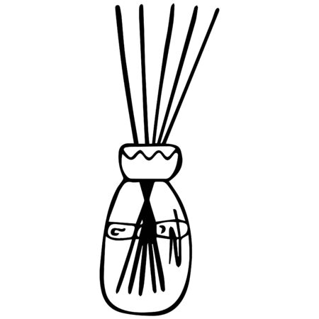 Black and white aromatic diffuser with sticks in a jar. Hand-drawn item for coloring. Vector.