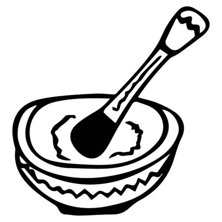 Black-white hand-drawn isolated mortar with pestle for herbs. Vector.