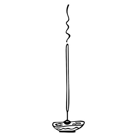 Black-white hand-drawn isolated burning incense stick with stand holder. Vector.