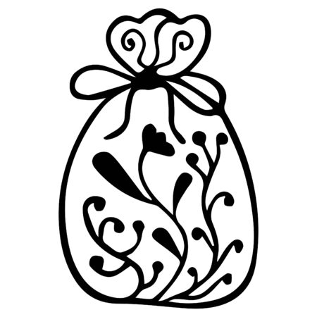 Black and white hand-drawn isolated aromatic bag with flowers and plants. Vector.