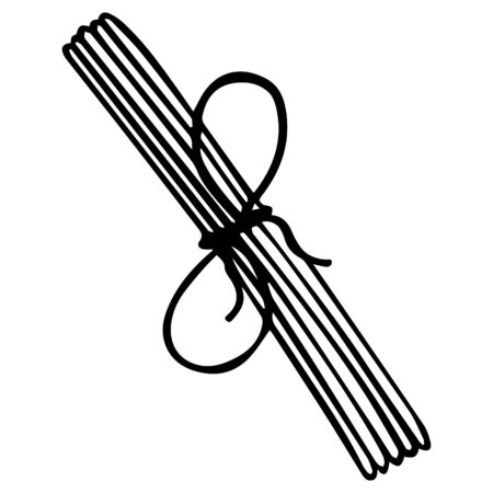 Black and white isolated oriental aromatic sticks tied with a rope with a bow. Hand-drawn .Vector.