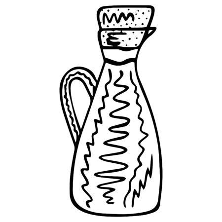 Black white isolated Black white isolated hand-drawn jug with cork.Vector.
