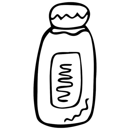 Black and white isolated hand-drawn jar for shampoo, balm or cream. Vector.