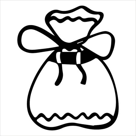 Black and white hand-drawn isolated sack bandaged a bow. Vector.