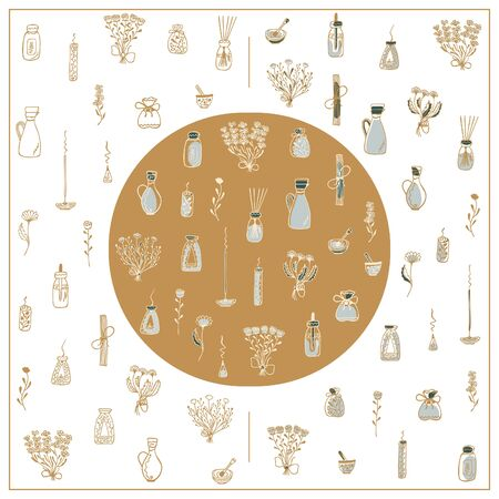 Set of hand-drawn spa icons in three colors on a white background. Gold doodles on the subject of aromatherapy. Isolated flowers, bouquets, oils, incense, candles, oils, pushers with pestles. Vector. Ilustração