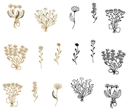 Set of hand-drawn bouquets and flowers of lavender, rose, chamomile and peon on a white background. Gold and black outlines to choose from. Vector design elements. Standard-Bild - 133468255