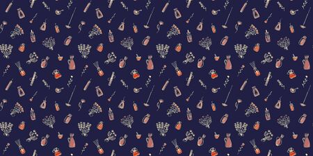 Seamless pattern of hand-drawn spa icons on a dark background. Design of doodles on the subject of aromatherapy. Isolated flowers, bouquets, oils, incense, candles, oils, pushers with pestles. Vector. Illusztráció