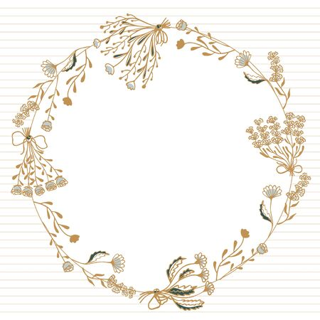 Template for card, flayer or invitation of hand-drawn wreath of bouquets and flowers of lavender, rose, chamomile and peon on a white background whith golden strips. Place for text. Vector.