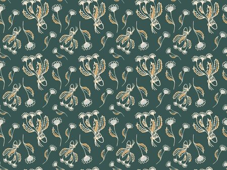 Elegant trendy seamless pattern of hand-drawn cream bouquets with bows and flowers of daisies on Eden green background. For fabric, textile, wallpaper, etc. Vector.