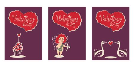 Set of three greeting cards, posters, flyers for Valentine's Day with lettering in a wavy heart, cake, Cupid, and swans on a purple background. Hand drawing. Vector. Иллюстрация