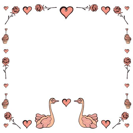 Romantic square frame for Valentine's Day and wedding of hand-drawn swans, roses, hearts and cakes on a white background. For text, banners, advertising, invitations, greeting cards, etc. Vector.