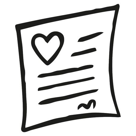 Black and white letter with a heart. Note with a declaration of love. Greeting card. Isolated hand drawing. Vector.