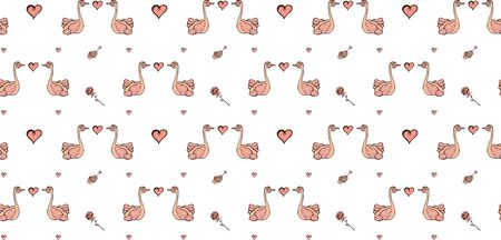 Valentine's day and wedding seamless pattern made from hand-drawn Cswans, roses, hearts and cakes on a white background. For cover, fabric, wrapping, packaging, wallpaper, prints etc. Vector.