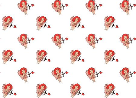 Seamless pattern from hand-drawn Cupids with bows shooting in hearts on a white background. For St. Valentines Day. For textile, texture, fabric, wrapping, wallpaper, prints, packaging. Vector.