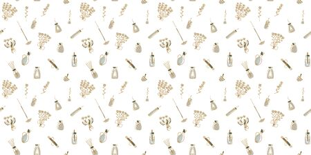 Seamless pattern of painted flowers and aromatherapy products with golden contours on a white background. Vector. Иллюстрация