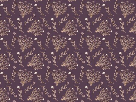 Seamless pattern of hand-drawn abstract flowers and bouquets with golden contours on an elegant purple background. Vector. Vector Illustration