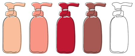 A set of five outline bottles drawn with one line with dispensers with colored substrates and one without it on a white background. For shampoos, liquid soaps, balms, etc. Vector.