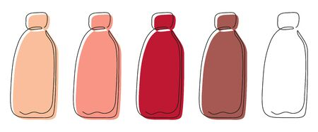 A set of five multi-colored contour bottles drawn with one line for shampoos, liquid soap, balms, bath foam, lotions, body milk, creams, etc. on white background. Vector.  イラスト・ベクター素材