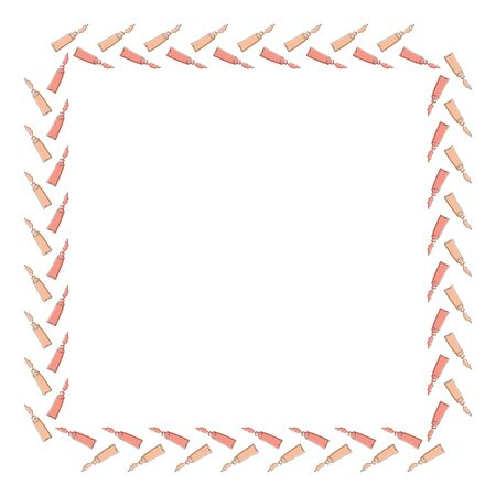 Square frame of tubes with cream flowing out from the outlines drawn in single lines with a substrate on a white background. Isolated template. Vector. Illustration