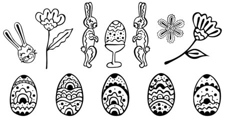 Black and white set of doodles for Easter. Isolated eggs, rabbits and abstract flowers for coloring. Hand drawing. Vector.