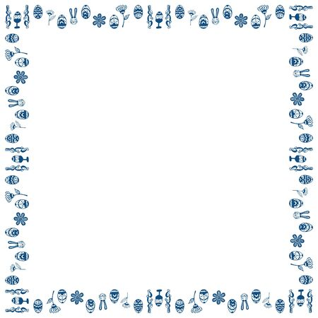 Doodles square frame for Easter. Isolated eggs, rabbits and abstract flowers in a classic blue color. Place for text. Vector.