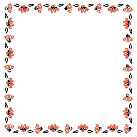 Square isolated frame of black and red abstract flowers in Scandinavian style on a white background. Vector. Illustration