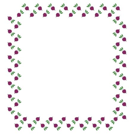 Beetroot square frame with tops on a white background. Contours from one line. Place for text. Vector.