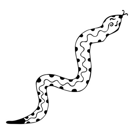 Black-white snake with protruding forked tongue. Isolated coloring book with patterned wriggling reptile. Hand-drawn illustration with monochrome scaly animal. Vector.