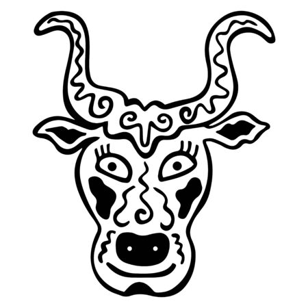 Isolated mystical hand drawn bull head with patterns. Black-white zodiac sign Taurus. Horned animal. Logo, tattoo, coloring book and print design. Vector.