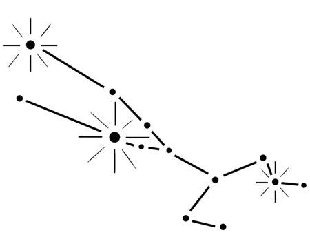 Hand-drawn black Taurus constellation on a white background. Zodiac chart. Vector.