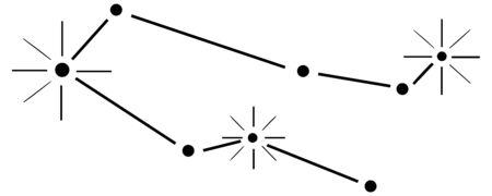 Hand-drawn Gemini constellation in black color on a white background. Astronomical zodiac diagram. Vector. Ilustração