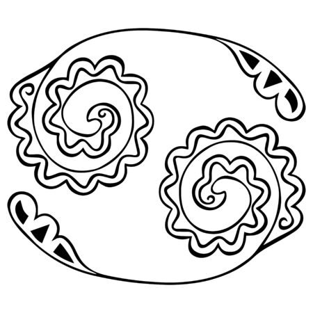 Black and white zodiac symbol Cancer with patterns in the style of Boho. Isolated hand drawn meditative coloring, tattoo, logo. Vector. Ilustração