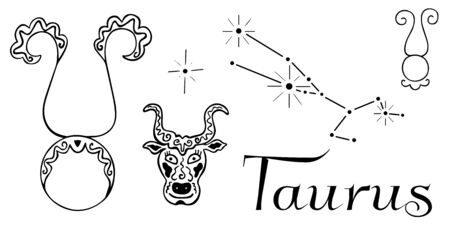 Astrological clip art black and white isolated zodiac sign symbols Taurus hand-drawn. Two pictograms, constellation, patterned head of a bull, star and inscription. For coloring and horoscopes. Vector