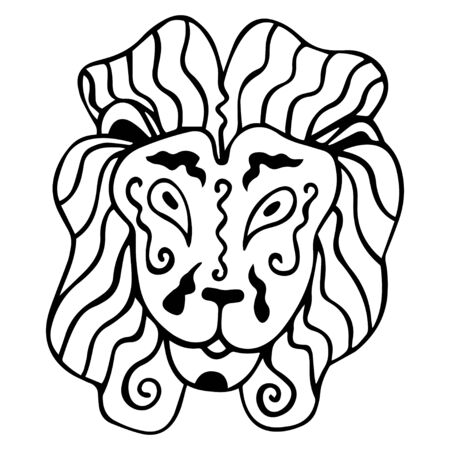 Black and white lion head in ethnic style. Isolated portrait of a king of beasts. Coloring book, logo, tattoo, print. Hand drawing. Vector. Banque d'images - 137767577
