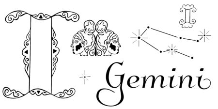 Zodiac set for the sign of Gemini. Black and white clip art from astrological symbolism. Two symbols, a constellation, a duet of female heads looking in different directions and an inscription. Vector