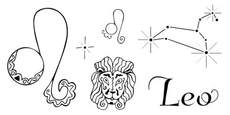 Zodiac set for the sign of Leo. Black and white astrological pictures painted by hand. Two symbols, constellation, lion head and inscription. Vector Archivio Fotografico - 137854301