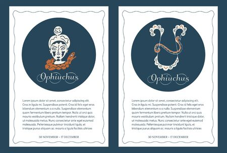 Zodiac signs Ophiuchus. Two templates of international format for postcards, flyers, posters, banners, brochures and so on. with place for text. Backgrounds with astrological symbols. Vector. Illustration