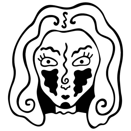 Hand-drawn black and white head of a woman with abstract spots on her cheeks and wavy lines on her head and face. Magical and coloring. Vector. Archivio Fotografico - 137854307