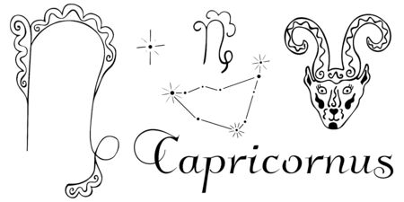 Hand drawn zodiac Capricorn constellation. Two black and white zodiac symbols, constellation, goat ornamental head and inscription. Clip art for coloring, horoscope and so on. Vector.