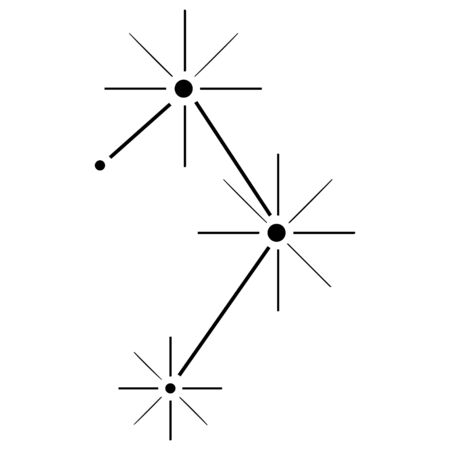 Hand-drawn Libra constellation black color on a white background. Isolated astronomical zodiac diagram. Vector.
