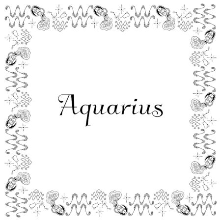 A square isolated black and white zodiac frame from hand-drawn doodles with the inscription Aquarius in the center. 向量圖像