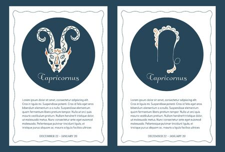 Signs of the zodiac Capricornus. Two templates for cards, leaflets, posters, banners, brochures and so on. Place for text. International format.