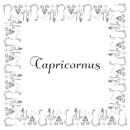 A square isolated black and white frame with the inscription Capricornus in the center. Astrological symbols hand-drawn.