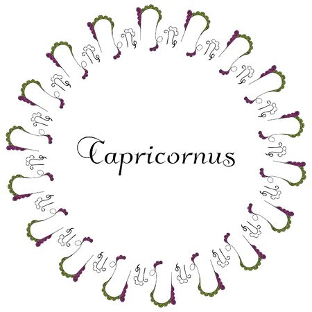 A round frame with Capricornus inscription in the center of hand-drawn isolated sign symbols on a white background.