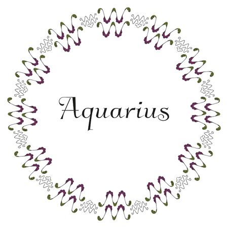 A round frame of emblems with an inscription in the center symbolizing the zodiac sign Aquarius, drawn by hand on a white background. 向量圖像
