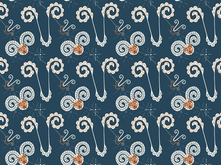 A seamless pattern of hand-drawn Aries zodiac symbols in orange-cream colors on a dark background. Pictograms, constellations, rams and stars. Planetary symbolism. Astronomical texture.