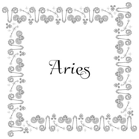 A square isolated black and white zodiac frame with the inscription Aries in the center. Isolated hand drawing of doodles. Black outlines. For astrological banner, postcard, poster, flyer, etc.
